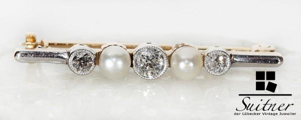 wertvolle antike Diamanten Perlen Stab Brosche aus 585 Gold - selten