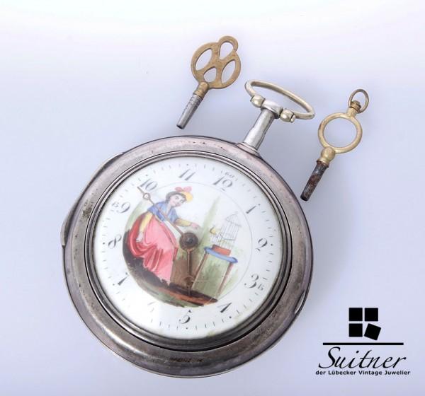 Seltene, große Spindeltaschenuhr mit Übergehäuse und Zifferblatt-Malerei - 800er/830er Silber