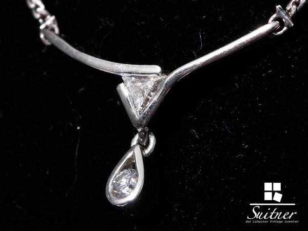 Unikat 950 Platin Brillant Diamant Collier Triangelschliff - exklusive Handarbeit