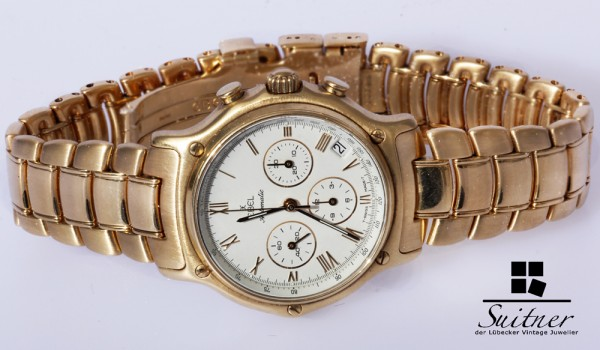 Ebel 1911 Automatic Chronograph Date 185g. massiv 750 Gold Full Set