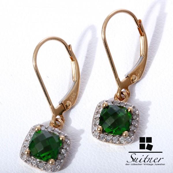 prachtvolle Chromdiopsid Ohrhänger mit Brillanten 585 Gold Grün like Emerald