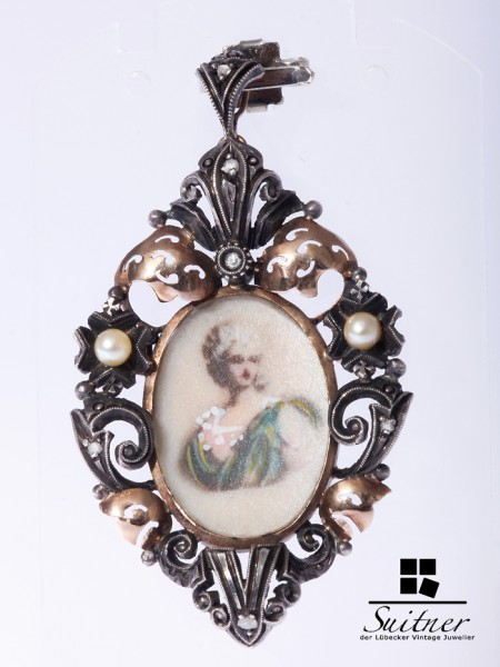 Brosche Anhänger Silber / Gold Rokoko- Bildnis Diamanten