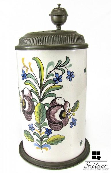 Fayence Walzenkrug von 1786 selten antik Zinndeckel Elias Himmelfahrt TOP