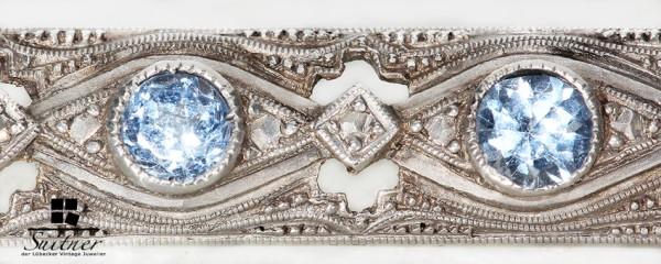 feine Stab - Brosche Silber Art Deco 5 blaue Steine Meisterstempel filigran