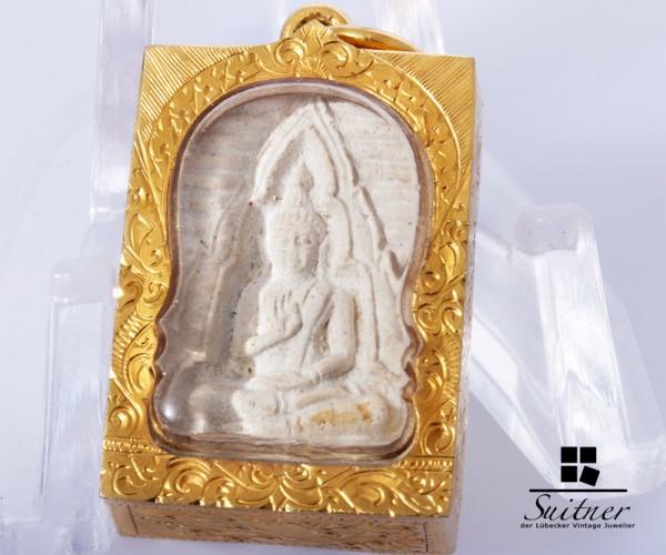 Anhänger thailändischer Buddha 750 Gold selten Buddhismus Glücksbringer antik