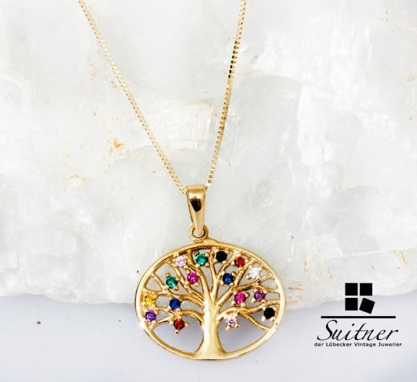 farbfroher Lebensbaum Kette Saphir, Rubin, Smaragd in Gelbgold gefasst - Gold
