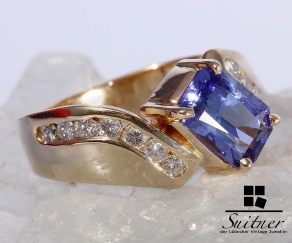 wertvoller Tansanit Ring mit Brillanten 585 Gold Gr. 53 Blau