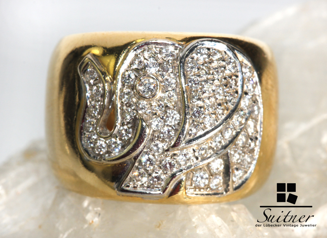 eleganter Animal Design Ring mit Elefant und Brillanten 750 Gold Handarbeit