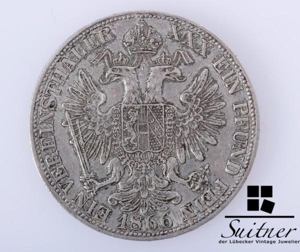 Österreich 1866 Vereinsthaler SS / VZ seltener Thaler ein Pfund