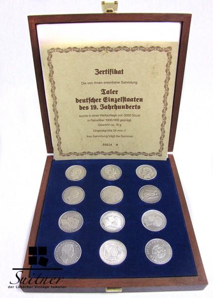 Taler deutscher Einzelstaaten des 19 Jhrdts in Schatulle mit Zertifikat 1000 Silber limitiert