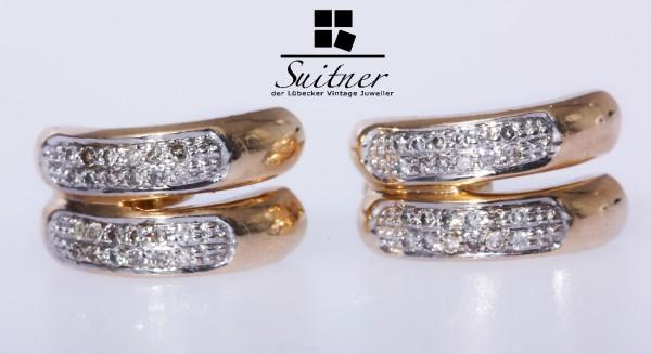Halbcreolen mit Diamanten zus. ca. 0,12 ct. 585 Gold