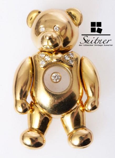 großer Chopard Happy Diamonds Teddybär Bär 750 Gold sehr selten