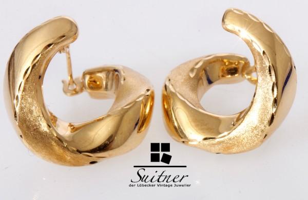 moderne Design Creolen 750 Gold geschwungen neuwertig Ohrring