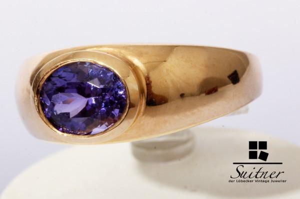 Harry Ivens Ring Tansanit Ring aus 585 Gold Gr. 54 Bandring Blau IV