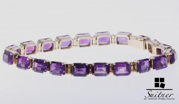 umwerfendes Amethyst Juwelen Armband ca. 40ct. XXL 585 Gold Lila