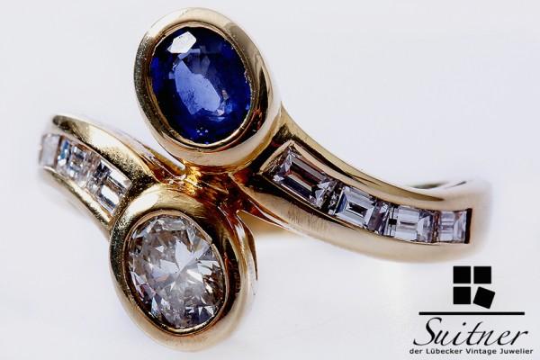 750 Gelbgold Saphir Diamant Cross over Ring