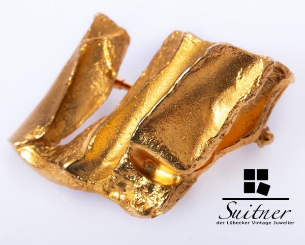 Lapponia Brosche 585 Gold von 1972 Nugget Weckström Luxus pur
