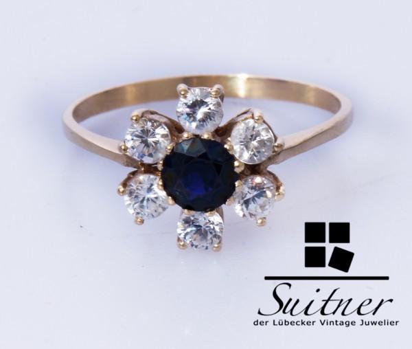 zierlicher Ring Saphir Ring mit Steinbesatz 585 Gold Größe 58 wie Brillanten