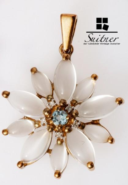 Blumen Anhänger Margeriten aus Gold mit Mondstein und Zirkon floral