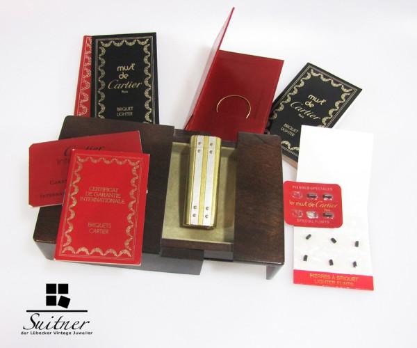 Must de Cartier Santos Feuerzeug vergoldet selten Full Set