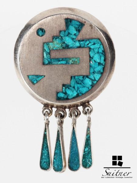 Brosche - Anhänger mit Türkisen Indianerschmuck aus Silber Handarbeit