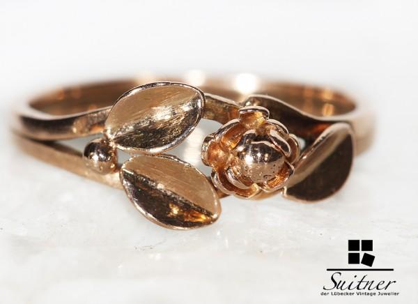 antiker Blüten Ring Roségold 585 Gold - Gr. 54 - sehr wertige Arbeit