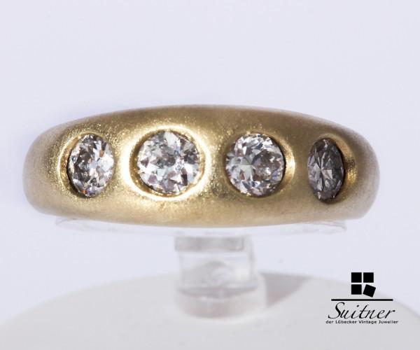 wertvoller Bandring Altschliff Diamanten zus. 1,00ct. 585 Gold Gr. 54 Matt Ring