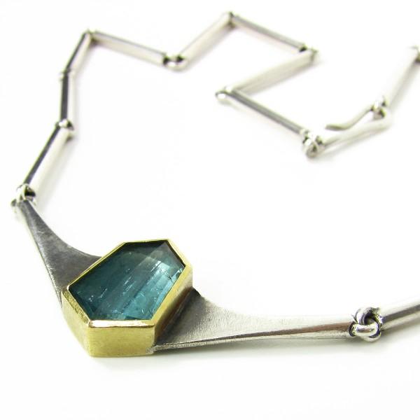 Handarbeit Goldschmied XL Collier Turmalin Silber 917 Gold 22 Karat