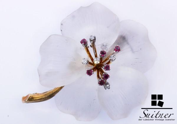 extravagante 750 Gold Blüten Brosche Rubine Diamanten Blätter XL