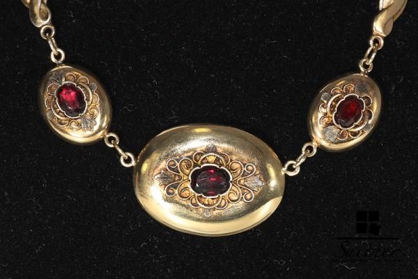 Antikes umwerfendes Collier mit Granat Silber und Gold wie Rubine